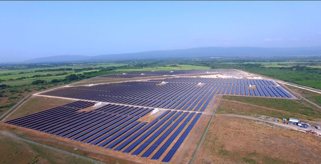 Aerial view of the 154-acre Content Solar photovoltaic (PV) power plant in Clarendon, the first utility-scale solar PV plant in Jamaica.
